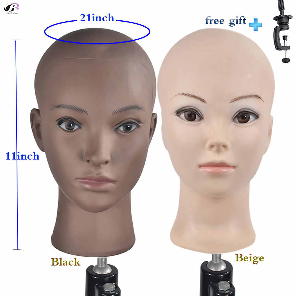 Bald Training Head Mannequin Soft PVC Female Wig Head Wigs Making and Display Doll Head with a Free Clamp