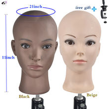 Bald Training Head Mannequin Soft PVC Female Wig Head Wigs Making and Display Doll Head with a Free Clamp(China)