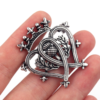 Broches de la corona del cardo de La Flor escocesa del Hijab de la vendimia alfileres de las mujeres accesorios de la insignia del ramo del corazón doble