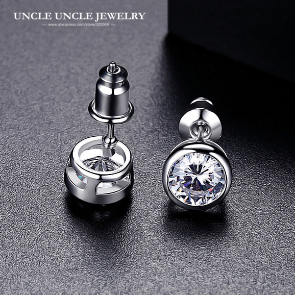 Brand Design Simple Style White Gold Color 1ct Clear Round Cubic Zirconia Woman Jewelry Stud Earrings In From Accessories On