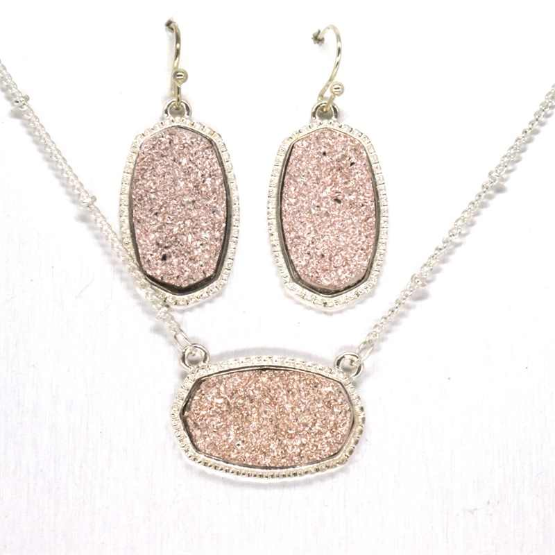 11 Colors Large Iridescent Druzy Drusy Pendant Necklace With Matching Hexagon Drop Earrings Hot Fashion Jewelry Sets Super Gift