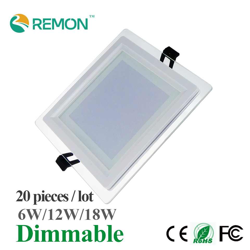 dimmable glass led panel lights square led ceiling lamp spot light 6w 9w 18w led recessed lighting fixtures warm cool white bulb - Square Recessed Lighting