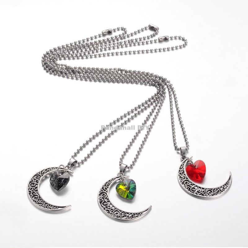 30pcs Tibetan Style Moon Heart Pendant Necklaces for Women with 304 Stainless Steel Ball Chains, Mixed Color, 21.6""