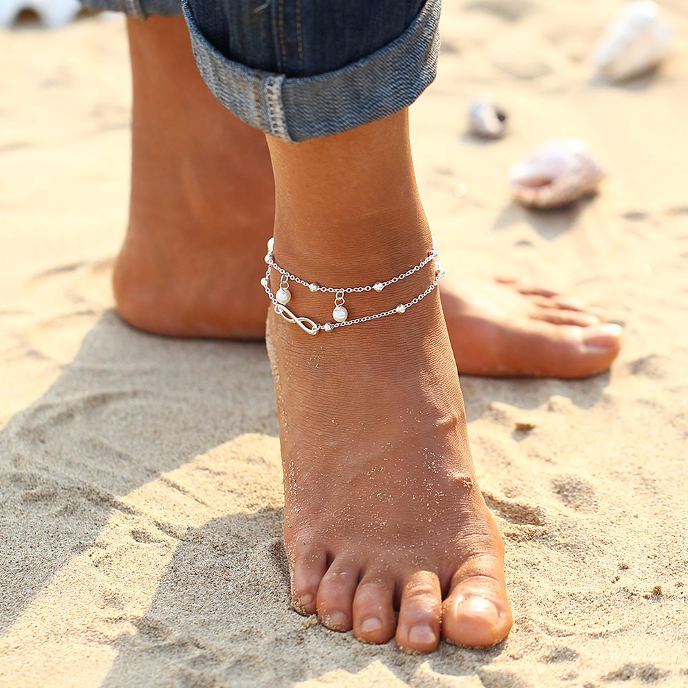 New Summer Vintage Foot Jewelry 8 Chain Simulated-pearl Anklets Women Gold Color Fashion Ankle Bracelet For Leg Beach Jewelry