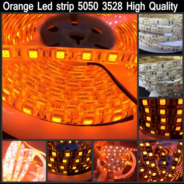 16 4ft 600nm True Orange Led Strip 5050 3528 Smd 5m 300 600 Tape Rope Lights 12v For Home Decoration Good Quality