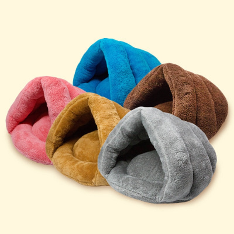 5 Colors Soft Fleece Winter Warm Pet Dog Bed 2 Different Sizes Hand Wash Small Dog Cat Sleeping Bag Puppy Caved Bed ...