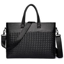 Modne torby męskie torby biznesowe teczki na co dzień torby męskie moda plecione teczki tanie tanio AUGUR Prawdziwej skóry Skóra bydlęca Genuine Leather NONE Pojedyncze Poliester 0 8kg 29cm zipper Sukienka Wnętrze breloczków łańcucha