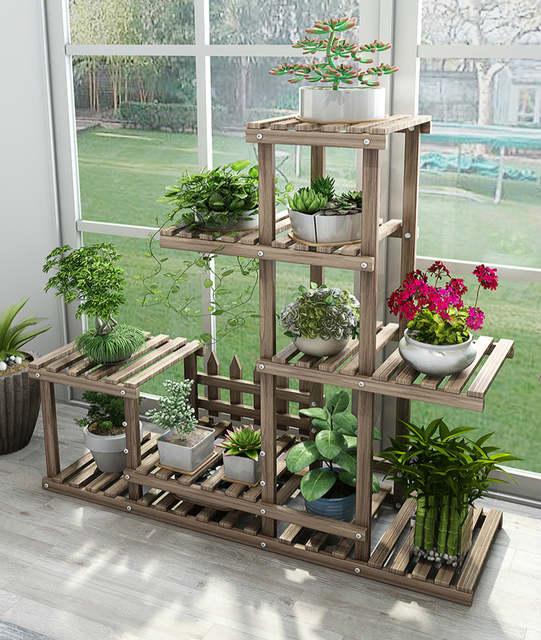 Us 34 36 21 Off Flower Rack Plant Stand Multi Wood Shelves Bonsai Display Shelf Indoor Outdoor Indoor Yard Garden Patio Balcony Flower Stands In