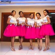 White and Hotpink Short Bridesmaid Dresses Short Sleeve Jewe