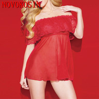 OY91 2018 Women's Off Shoulder Plus Size Sleepwear Short Baby Dolls Red Dress Sexy Lace Nightwear Hot sex toy Erotic Costumes
