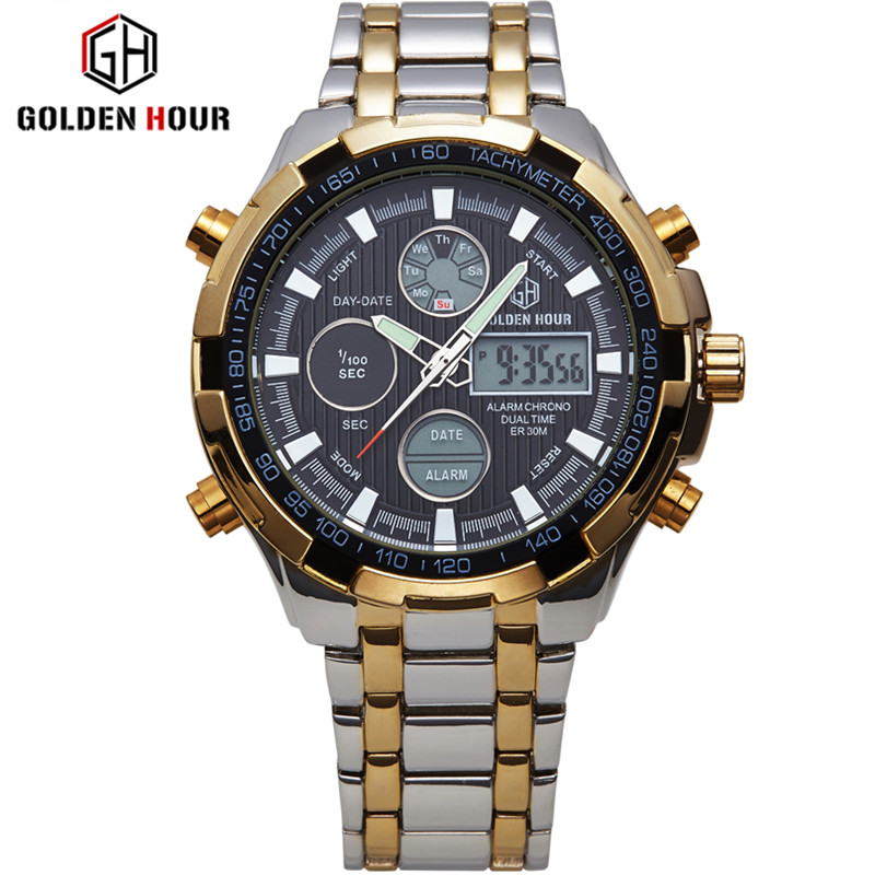 Luxury Brand Men Led Full Steel Analog Digital Watches  Male Clock Men Military Wristwatch Quartz Sports Watch Relogio Masculino 2017 luxury brand men military sports watches men s quartz analog hour clock male stainless steel wrist watch relogio masculino