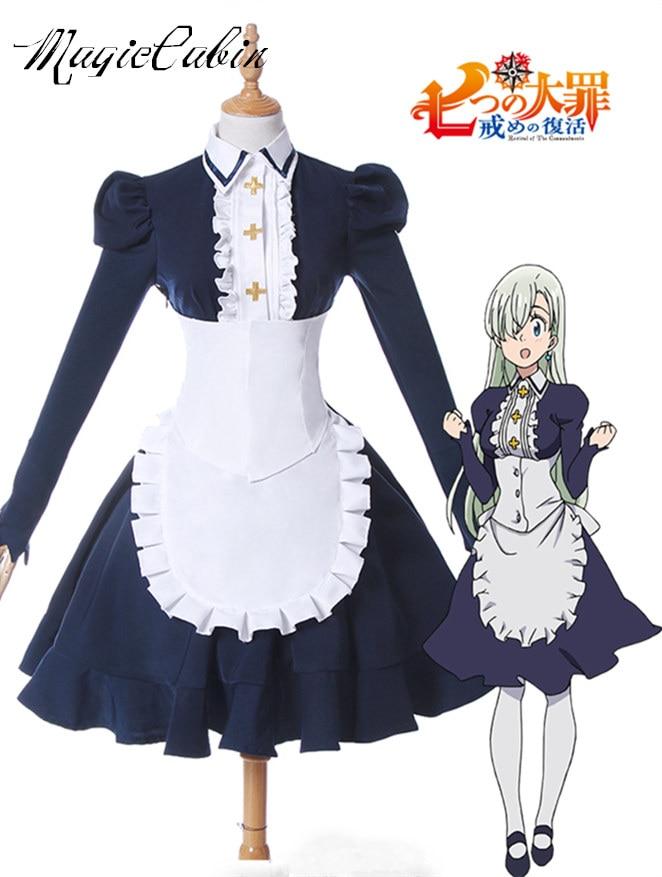 Japanese Anime Nanatsu no Taizai Imashime no Fukkatsu Elizabeth Liones Cosplay Costume Maid Dress The Seven