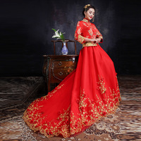 Phoenix Wedding Qipao Long Winter Bride Cheongsam Fashion Chinese Traditional Dress Red Embroidery Traditionnel Chinois
