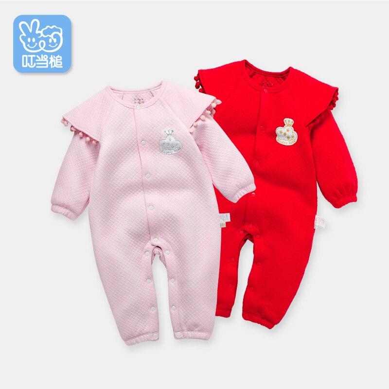 Dinstry Άνοιξη μωρό Rompers Ένδυση με εκτύπωση χαριτωμένα ρούχα κορίτσια κορίτσια ένα κομμάτι