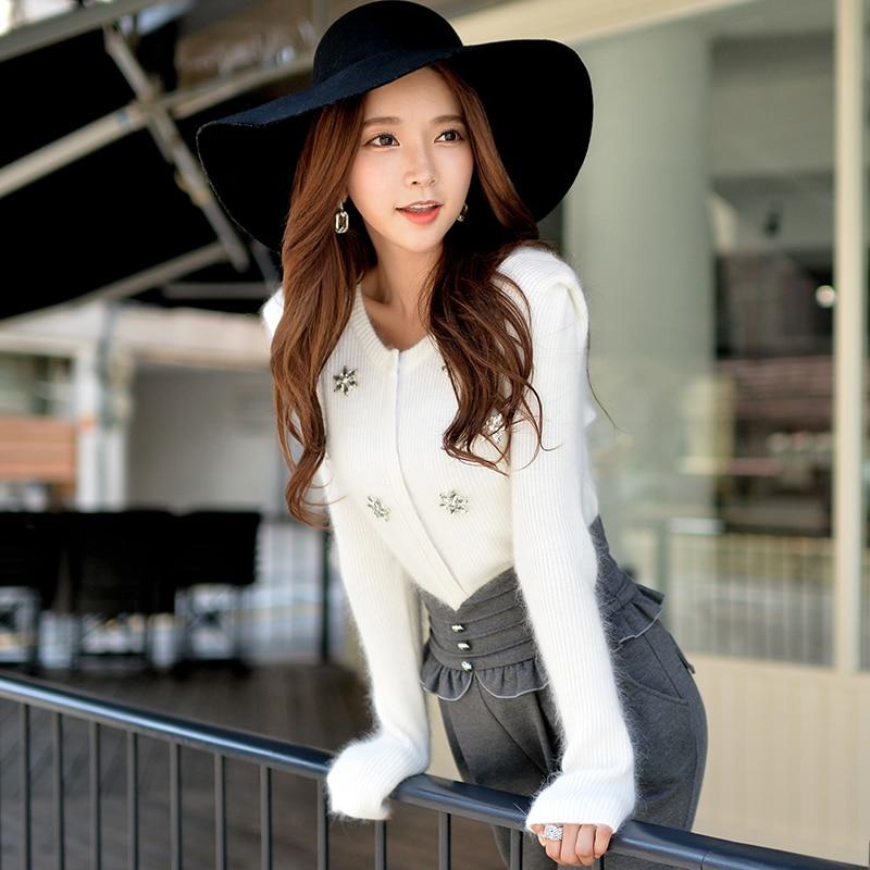 knitted cardigan coat female original new 2018 autumn and winter new slim manual diamond white sweater cardigans women