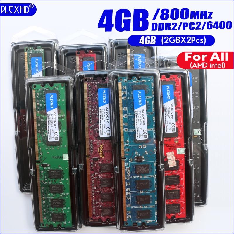 PLEXHD 4G 4GB(2GBX2pcs) DDR2 pc2 6400 800Mhz For Desktop PC pc2-6400 ddr2 800 MHZ (For intel amd) High Compatible 4