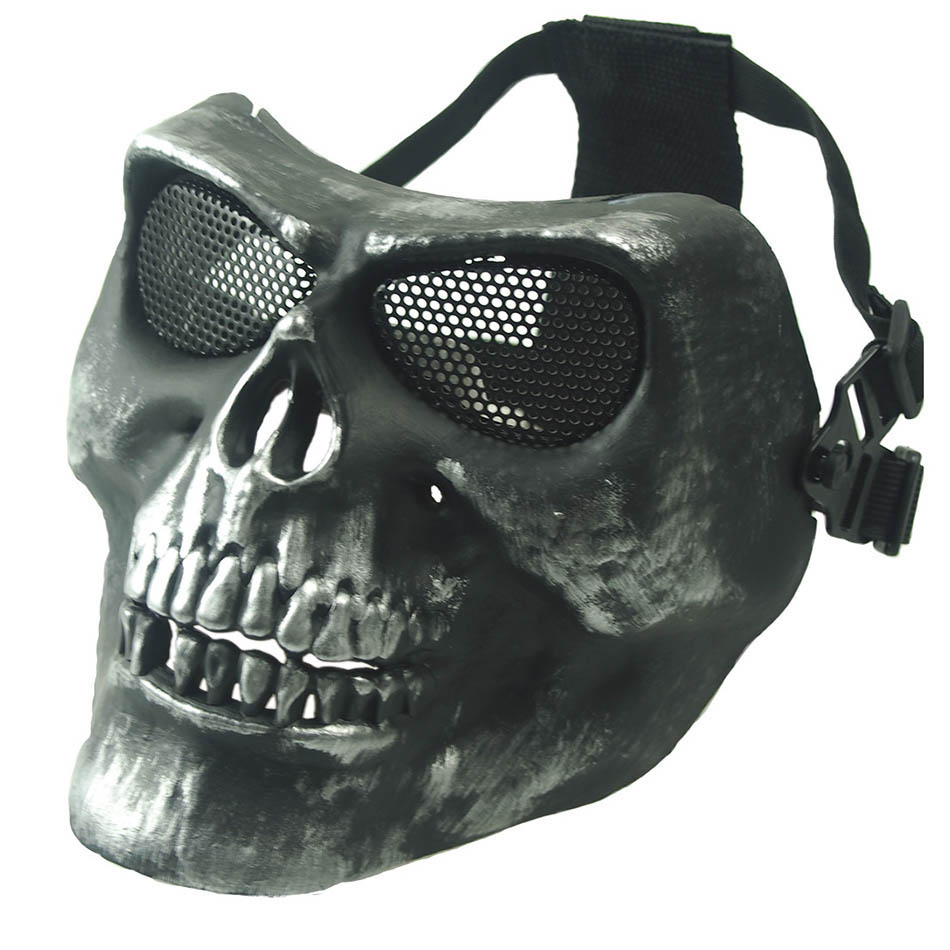 Half Face Skull CS Mask Military War Game Halloween ...
