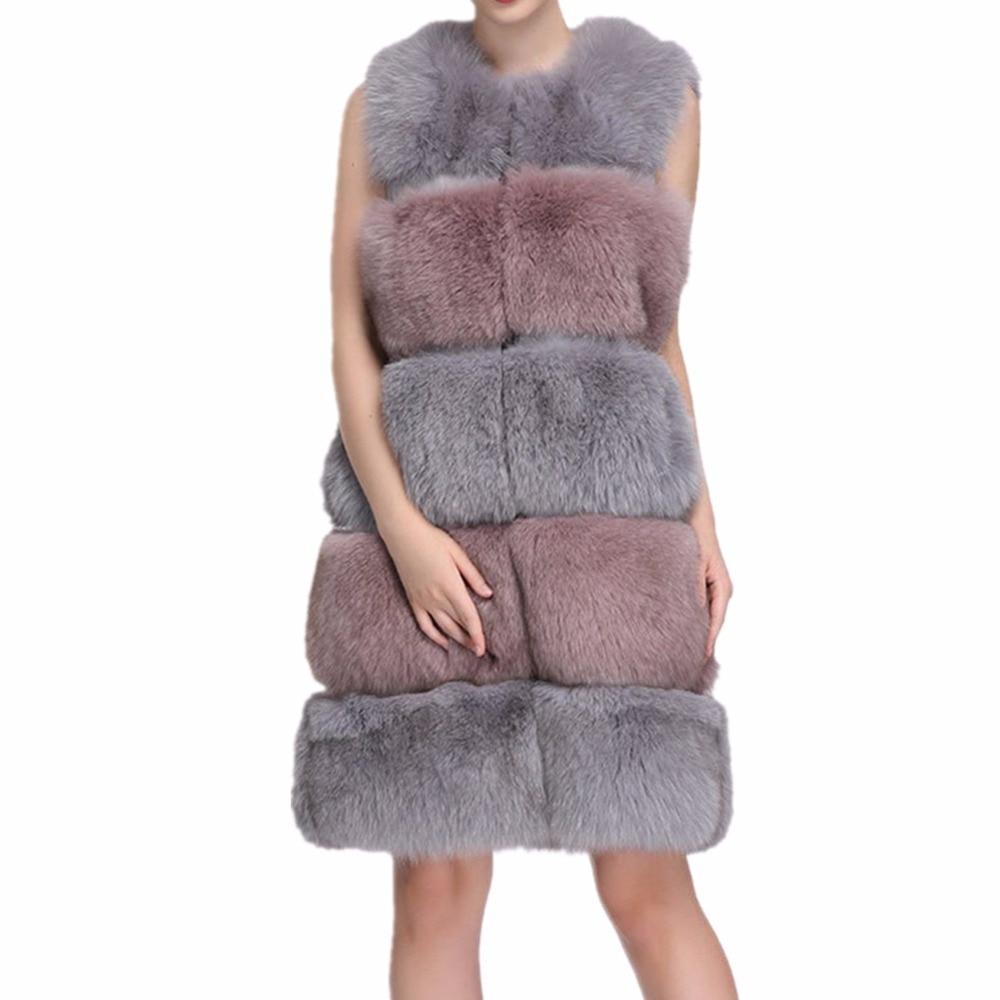 Veste Manteaux Gris Luxe Manteau Nouvelles D'hiver Faux Lisa De Fourrures Gilets Longues Femmes 2018 Chaud Renard Gilet Colly Fourrure TqqU8wa