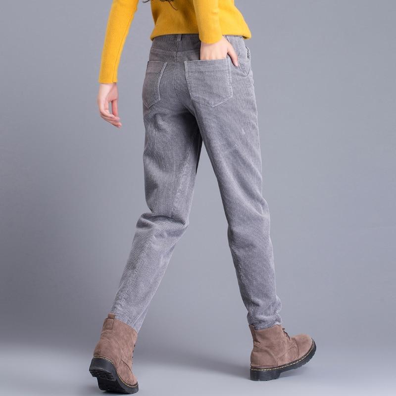 กางเกงผ้าลูกฟูกหลวมเกาหลีรุ่นย้อนยุค Harlan กางเกงลำลองกางเกงผู้หญิงฤดูใบไม้ร่วงส่วนหญิงกำมะหยี่-ใน กางเกงและกางเกงรัดรูป จาก เสื้อผ้าสตรี บน   1