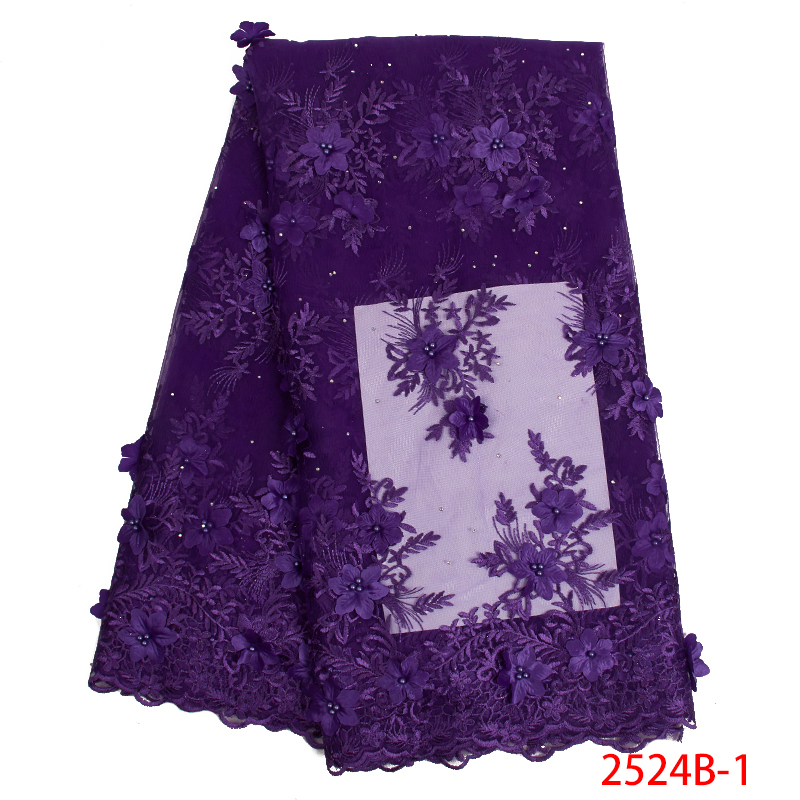 Hot Sale 2019 African Lace Fabric Latest Lace Fabric With 3D Flower And Beads Tulle Mesh Net Fabrics Laces For Dresses KS2524B-1
