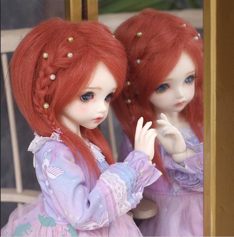 New 1/12 12cm 3-4 Inch 9-10cm 1/8 4-5 Inch 14cm BJD Fabric Fur Wig Peak Orange For AE PukiFee Lati Doll Antiskid BJD Doll Wig