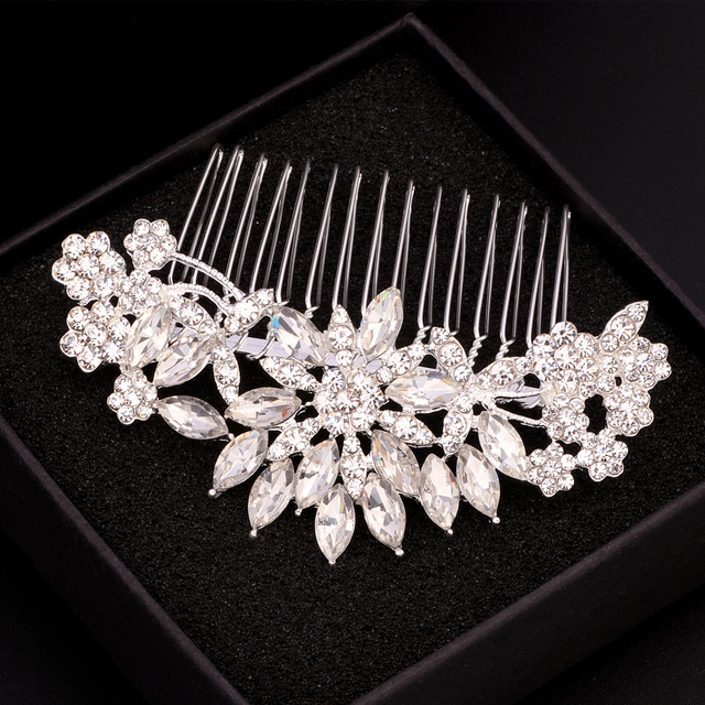 Elegant Crystal Flower Bridal Hair Combs 5