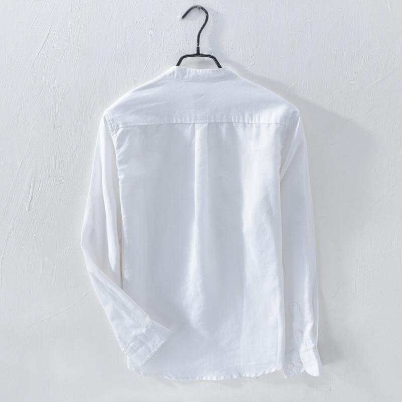 Moda Keten Erkek Casual Gömlek Slim Fit Şık Keten Elbise Gömlek - Erkek Giyim - Fotoğraf 2
