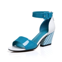 Fashion Patent Leather Spell Color Open-toed Belt Buckle Summer New Discount Hot Sale Thick High Heels Sandals For Women