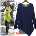 3879 2016 autumn and winter fashion women clothing  set loose long-sleeve fresh  dress navy blue,green color