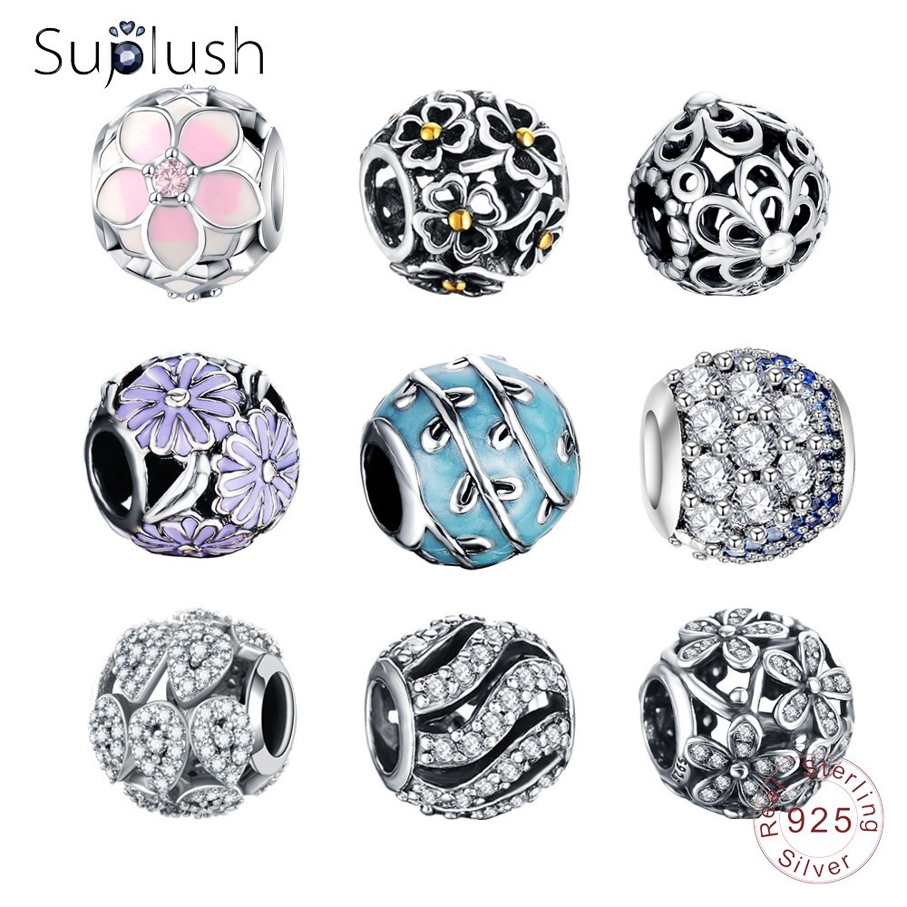 Suplush Real S925 Sterling Silver Spacer Charms Beads Fit Original Pandora  Charms Bracelets DIY Silver Jewelry Dropshipping