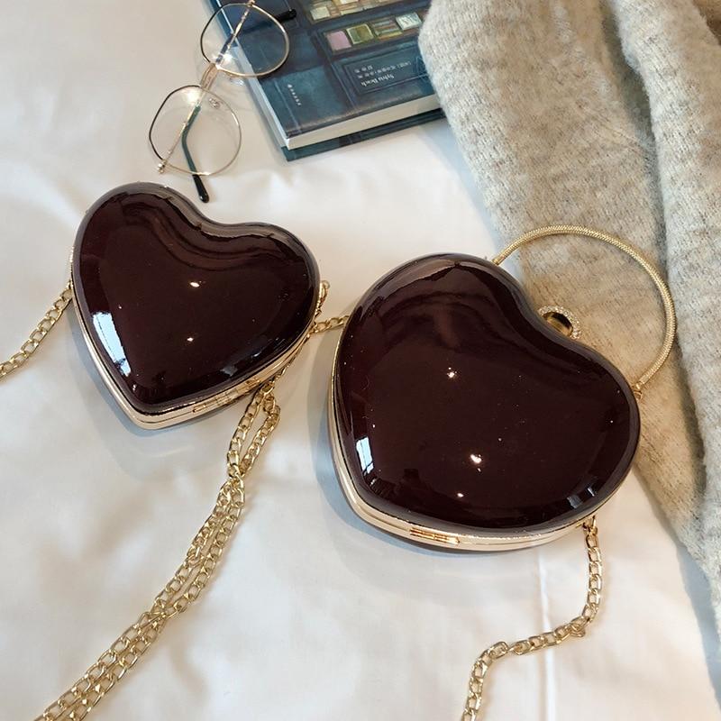 Ladies Hand Bags Heart Shape Metal Handle Tote Bag Luxury Brand Designer Women Party Clutch Bag Purse Female Chain Crossbody Bag