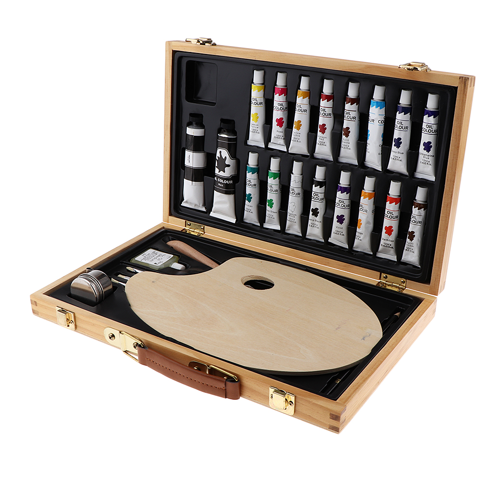 27 Pieces Art Tools Supplies for Painting and Drawing, Easy to Carry Wood Art Kit for Beginners, Children, Artists