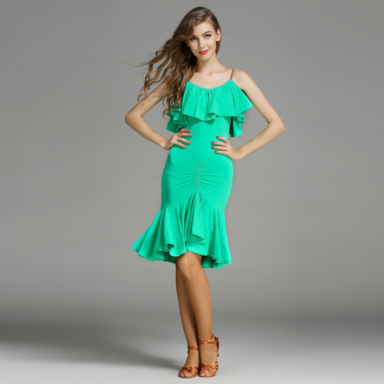 Латинский платье для танцев Для женщин леди взрослых румба, ча-ча-ча Раффлед Танцы Платье Бальный костюм Вечеринка платье