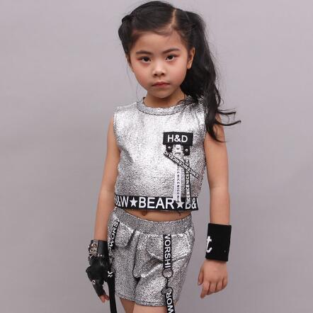 Girls hip Hop Jazz Costume Children Modern Ballroom Dance Wear Clothes Fashion Sequined Clothing Sets For Kids Girls Outfits