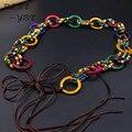 Meninas acessórios de moda estilo boêmio de madeira talão mão - corda de cera tecido cinto cadeia de cintura borla vento retro style boutique cintos