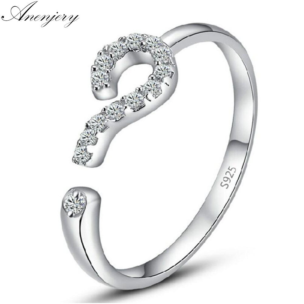 Anenjery 925 Sterling Silver Love Ring Zircon Question Mark Opening Rings For Women anel Valentines Day Present S-R154