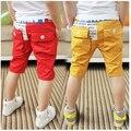 SL-38, verano de los niños cortos de las muchachas, niños chicos pantalones cortos, color sólido, sarga de algodón