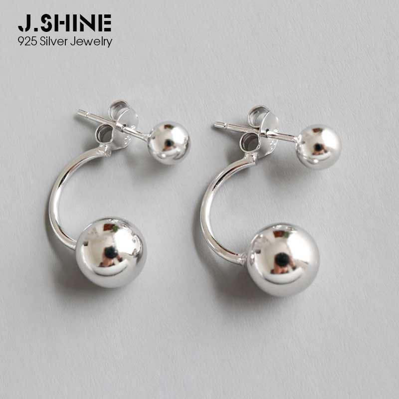 JShine Trendy 925 Sterling Silver Earrings Double Ball Bead Earings Fashion Jewelry Detackable Front And Back Stud Earrings