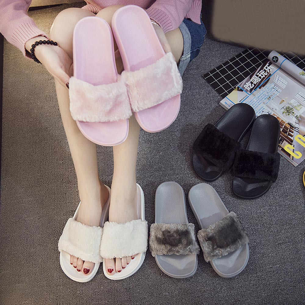 533adf36c50c Detail Feedback Questions about Womens Ladies Slip On Sliders Fluffy Faux  Fur Flat Slipper Flip Flop Sandal on Aliexpress.com
