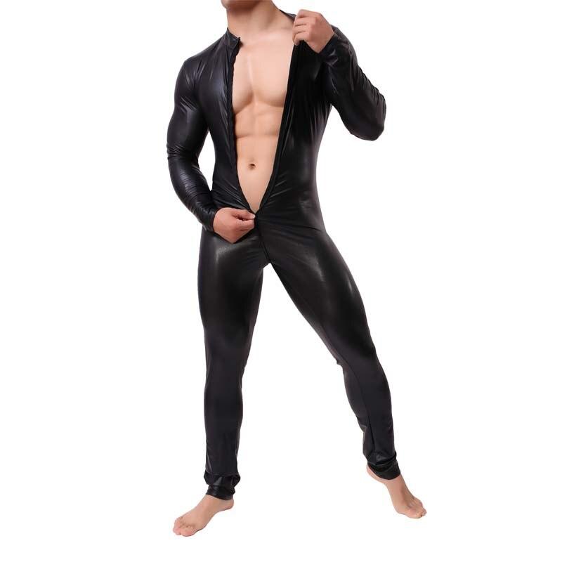 Nouveau européen et américain hommes Long Zipper Imitation cuir body Lingerie Sexy hommes Jockstrap body amusant combinaison