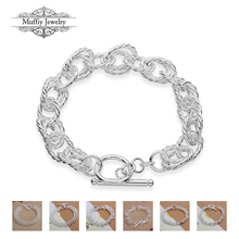 Hot Sell 925 Sterling Silver Link Chain Charm Bracelet,Classic Style DIY Wholesale Fashion Jewelry Bangle Gift For TF Tif Women