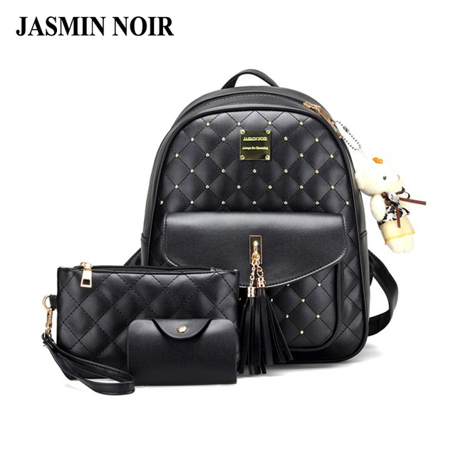 New Plaid Quilted Lining Fashion Women Leather Backpack Diamond Lady Travel Bag  College Female Tassels Back School Bag for Girls-in Backpacks from Luggage  ... 2586dc19db92c