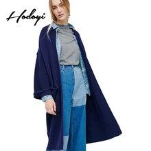 Hodoyi осень 2017 г. длинные Для женщин пальто дамы темно-синий модные свободные вязаный свитер женский Повседневное одноцветное без пряжки длинные пальто
