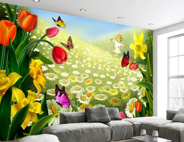 Luxury Wallpaper Customize Photo Room Mural Wild Chrysanthemum Flower For Walls