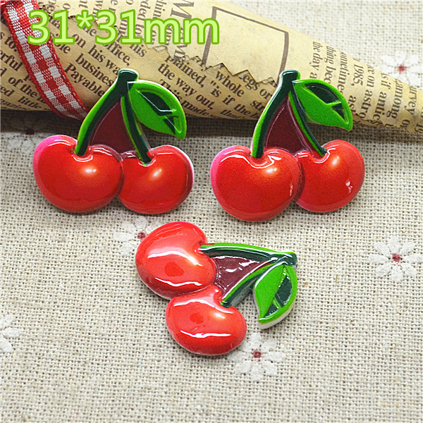 10PCS Resin Cherry Fruit Flat Back Cabochon Imitation Food Art Supply Decoration Charm Craft 31mm