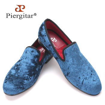 Pierigitar new Five color men new velvet flats shoes Banquet and Prom men dress shoes Fashion smoking slippers male loafers