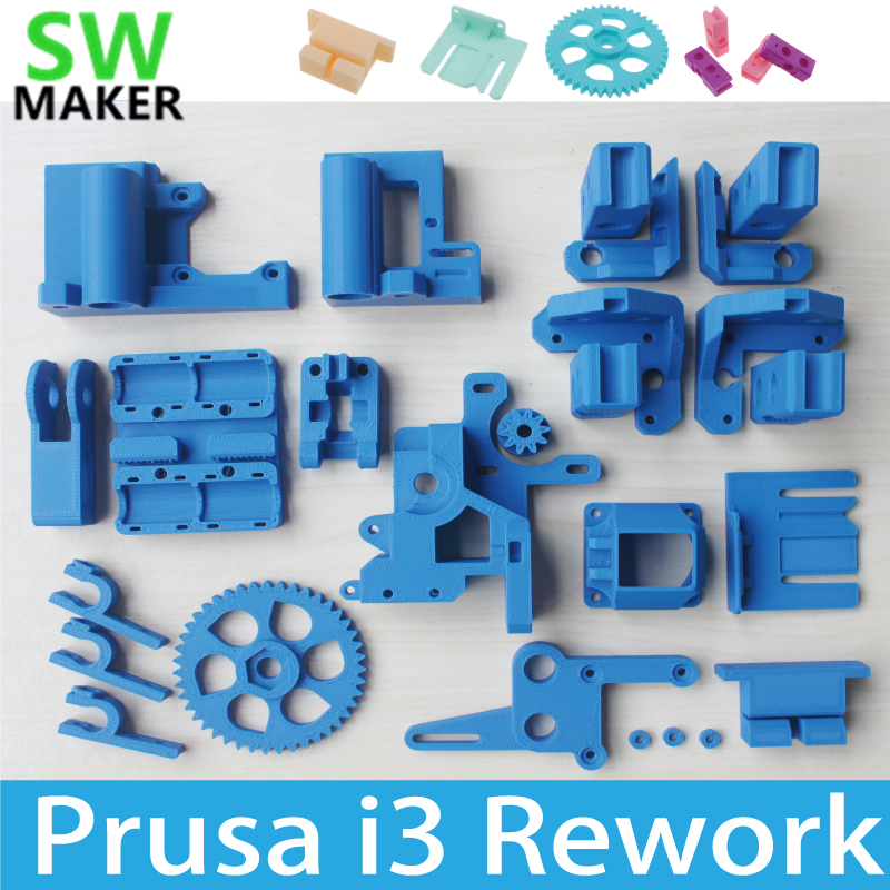Reprap Prusa i3 Rework 3D Printer PLA Required PLA Plastic Parts Set Kit Blue color Free Shipping colorful reprap i3 rework 3d printer pla required pla plastic parts set printed parts kit mendel i3 free shipping