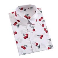 2017 Spring Plus Size 5XL Women Blouse Cherry Floral Print Long Sleeve Cotton Thin Female Shirt