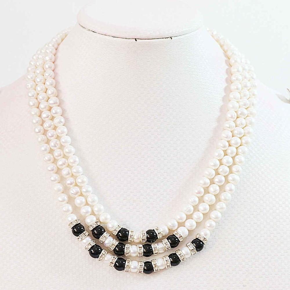 Blanc naturel culture d'eau douce perle 7-8mm ronde perles 3 rangées chaînes corde collier mariages partie cadeau bijoux 17-19 pouce B646