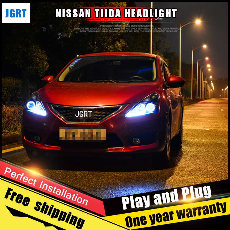 Car Style LED headlights for Nissan Tiida 2013-2014 for Tiida head lamp LED Lens Double Beam H7 HID Xenon bi xenon lens hireno headlamp for 2013 2015 nissan tiida headlight assembly led drl angel lens double beam hid xenon 2pcs